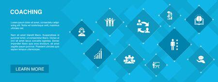 Coaching banner 10 iconos concept.support, mentor, habilidades, iconos de formación