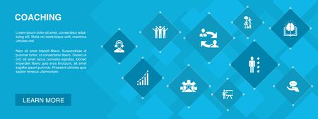 coaching banner 10 icons concept.support, mentor, skills, training icons Çizim