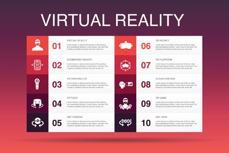virtual reality Infographic 10 option template.VR helmet, Augmented reality, 360 view, VR controller icons
