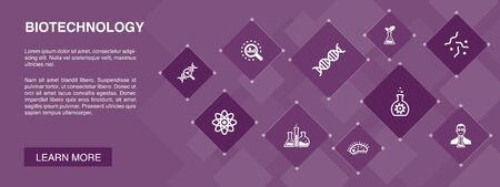 Biotechnology banner 10 icons concept.DNA, Science, bioengineering, biology icons Illustration