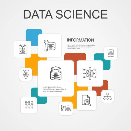 Data science Infographic 10 line icons template.machine learning, Big Data, Database, Classification simple icons