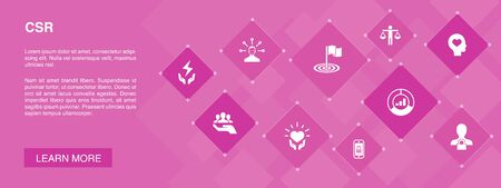 CSR banner 10 icons concept.responsibility, sustainability, ethics, goal icons