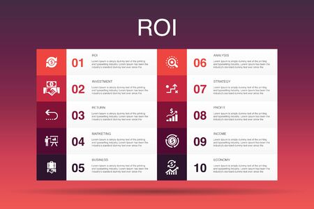 ROI Infographic 10 option template.investment, return, marketing, analysis icons