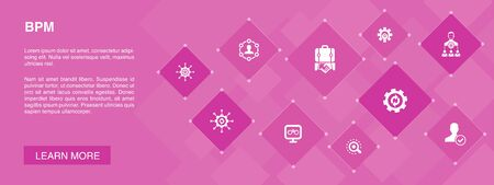 BPM banner 10 icons concept.business, process, management, organization icons