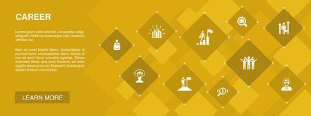 Bannière de carrière 10 icônes concept.company, leadership, embauche, icônes de recherche d'emploi Vecteurs