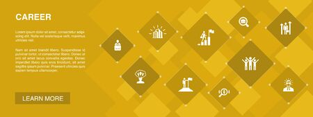 Career banner 10 icons concept.company, leadership, hiring, job search icons Ilustração