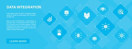 Data integration banner 10 icons concept.database, data scientist, Analytics, Machine Learning icons