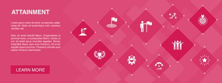 attainment banner 10 icons concept.goal, leadership, objective, teamwork icons Illusztráció