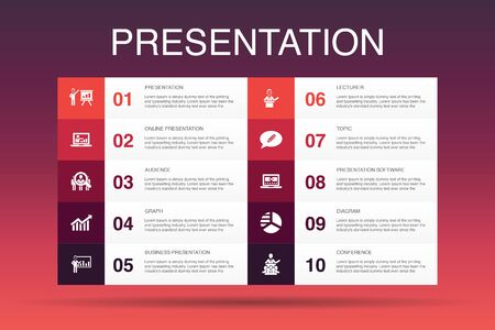 presentation Infographic 10 option template.lecturer, topic, business presentation, diagram icons Reklamní fotografie - 130214599