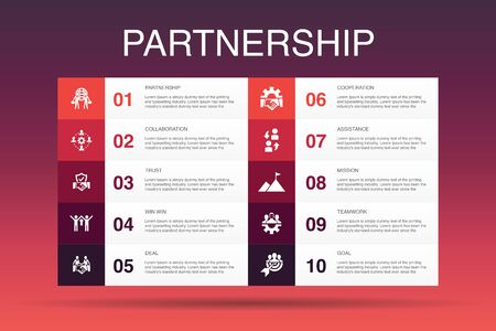 Partnership Infographic 10 option template.collaboration, trust, deal, cooperation icons Ilustrace