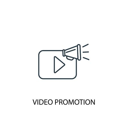 video promotion concept line icon. Simple element illustration. video promotion concept outline symbol design. Can be used for web and mobile UI