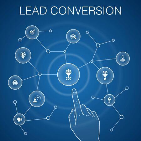 concetto di conversione di piombo, sfondo blu. vendite, analisi, icone di prospettiva