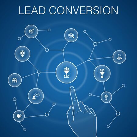 lead conversion concept, blue background. sales, analysis, prospect icons Illustration