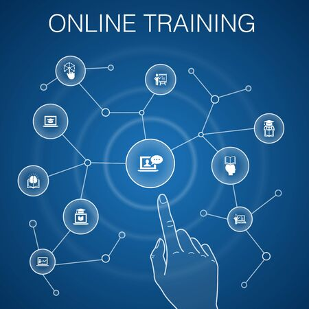 Online Training concept, blue background.Distance Learning, learning process, elearning, seminar icons
