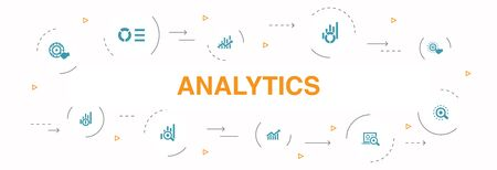 analytics Infographic 10 steps circle design. linear graph, web research, trend, monitoring simple icons