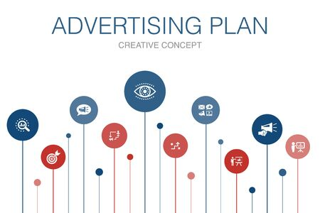 Advertising Plan Infographic 10 steps template.marketing, strategy, planning, target icons Ilustrace