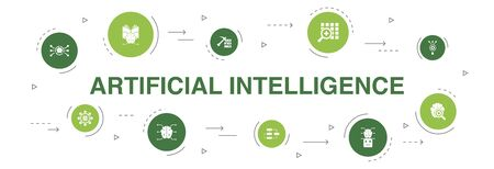 Artificial Intelligence Infographic 10 steps circle design. Machine learning, Algorithm, Deep learning, Neural network icons