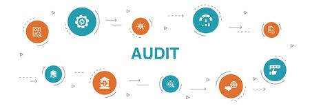 audit Infographic 10 steps circle design. review, standard, examine, process icons Ilustração