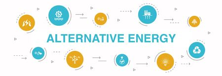 Alternative energy Infographic 10 steps circle design. Solar Power, Wind Power, Geothermal Energy, Recycling icons Illustration