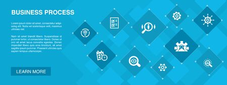 Business process banner 10 icons concept.implement, analyze, development, Processing icons