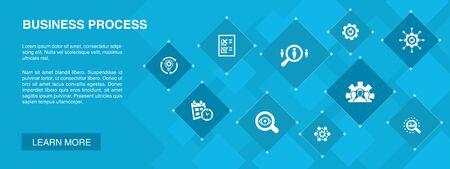 Processo aziendale banner 10 icone concept.implementare, analizzare, sviluppo, icone di elaborazione