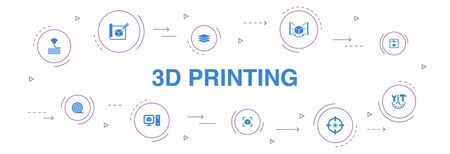 3d printing Infographic 10 steps circle design. 3d printer, filament, prototyping, model preparation icons