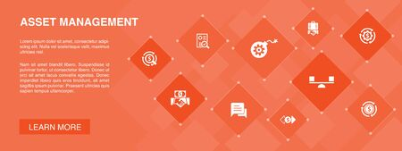 asset management banner 10 icons concept.audit, investment, business, stability icons