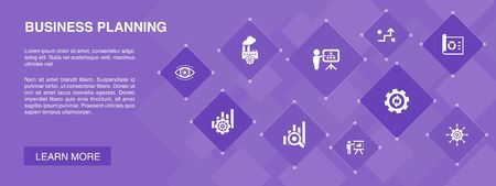 Business planning banner 10 icons concept.management, project, research, strategy icons Ilustrace