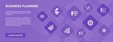 Concepto de 10 iconos de banner de planificación empresarial.Gestión, proyecto, investigación, iconos de estrategia Ilustración de vector