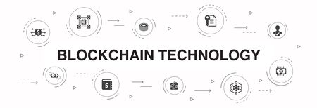 blockchain technology Infographic 10 steps circle design. cryptocurrency, digital currency, smart contract, transaction simple icons 스톡 콘텐츠 - 130168595