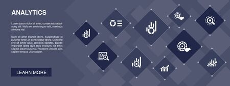 analytics banner 10 icons concept.linear graph, web research, trend, monitoring icons