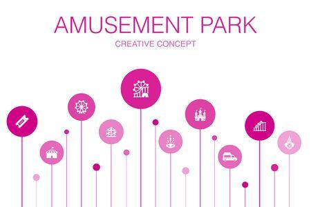 amusement park Infographic 10 steps template.Ferris wheel, Carousel, Roller coaster, carnival icons Illustration