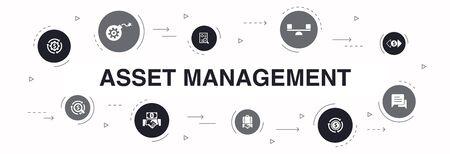 zarządzanie aktywami Plansza projekt koła 10 kroków. ikony audytu, inwestycji, biznesu, stabilności