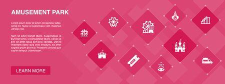 amusement park banner 10 icons concept.Ferris wheel, Carousel, Roller coaster, carnival icons