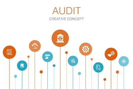 audit Infographic 10 steps template.review, standard, examine, process icons Ilustração
