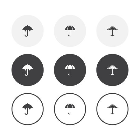 Set of 3 simple design umbrella icons. Rounded background umbrella collection  イラスト・ベクター素材