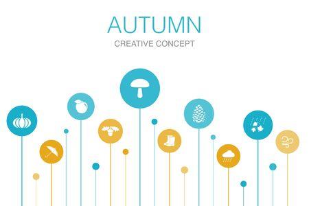 Autumn Infographic 10 steps template.oak nut, rain, wind, pumpkin icons