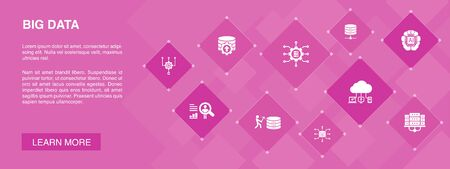 Big data banner 10 icons concept.Database, Artificial intelligence, User behavior, Data center icons