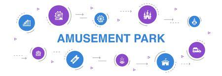 amusement park Infographic 10 steps circle design. Ferris wheel, Carousel, Roller coaster, carnival icons