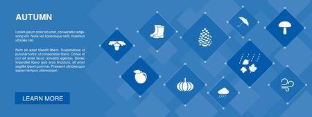 Autumn banner 10 icons concept.oak nut, rain, wind, pumpkin icons