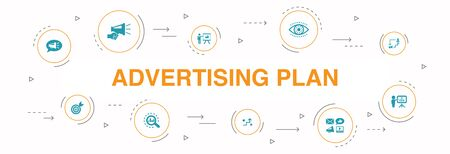 Advertising Plan Infographic 10 steps circle design. marketing, strategy, planning, target icons