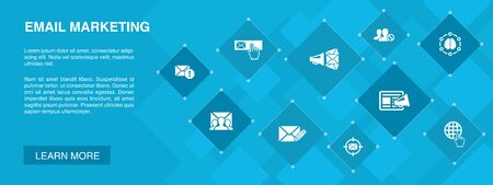 Email Marketing banner 10 icons concept. subscribe, compose mail, Blacklist, internet icons 일러스트