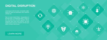 digital disruption banner 10 icons concept. technology, innovation, IOT, digitization icons icons