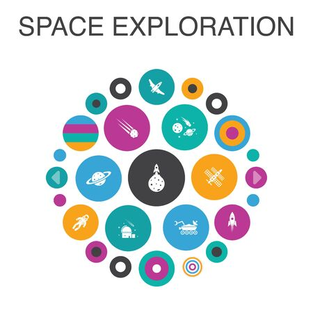 space exploration Infographic circle concept. Smart UI elements rocket, spaceship, astronaut