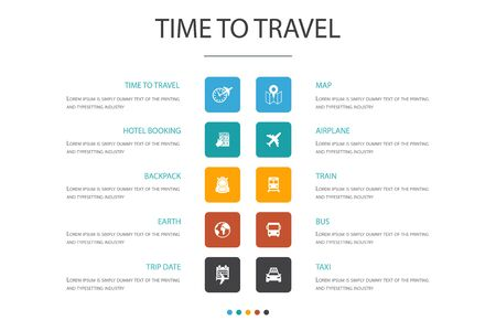 time to travel Infographic 10 option concept.hotel booking, map, airplane, train simple icons Ilustração