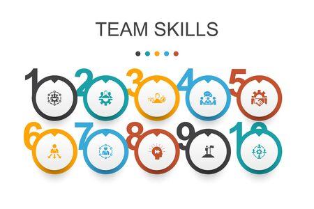 team skills Infographic design template. Collaboration, cooperation, teamwork, communication simple icons 일러스트