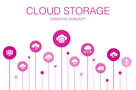 Cloud storage Infographic 10 steps template. Cloud Backup, data center, Hybrid Storage, Data Compression icons