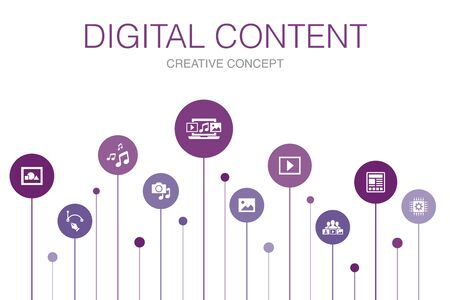 digital content Infographic 10 steps template. vector image, media, video, social content icons  イラスト・ベクター素材