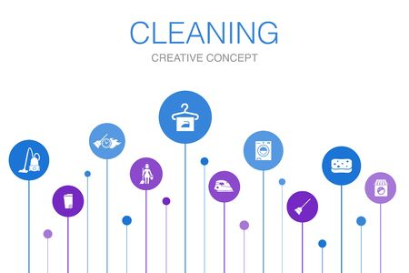 Cleaning Infographic 10 steps template. broom, trash can, sponge, dry cleaning icons Ilustrace