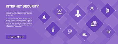 Internet Security banner 10 icons concept.cyber security, fingerprint scanner, data encryption, password simple icons Ilustração
